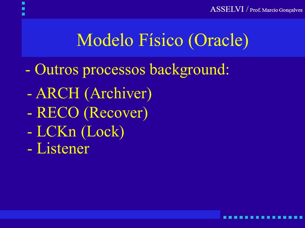 ASSELVI / Prof. Marcio Gonçalves Modelo Físico (Oracle) - Outros processos background: - ARCH (Archiver) - RECO (Recover) - LCKn (Lock) - Listener
