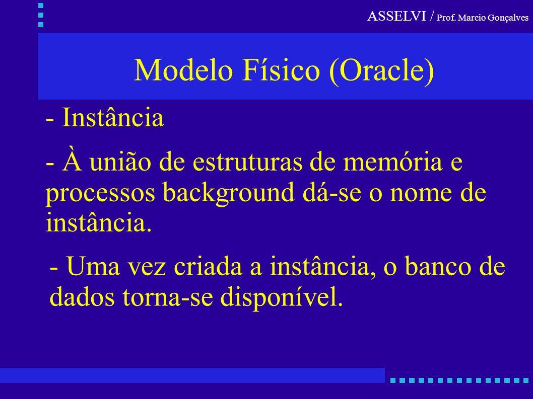 ASSELVI / Prof. Marcio Gonçalves Modelo Físico (Oracle) - Instância - À união de estruturas de memória e processos background dá-se o nome de instânci