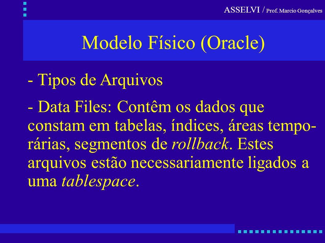ASSELVI / Prof. Marcio Gonçalves Modelo Físico (Oracle) - Tipos de Arquivos - Data Files: Contêm os dados que constam em tabelas, índices, áreas tempo
