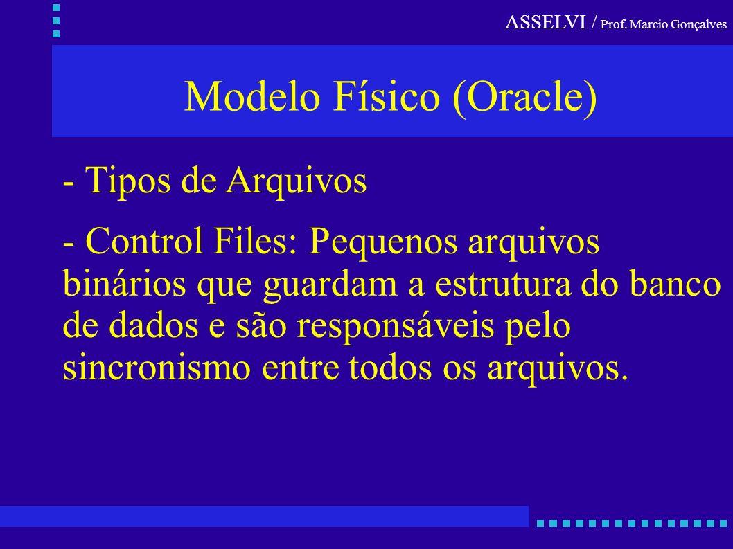 ASSELVI / Prof. Marcio Gonçalves Modelo Físico (Oracle) - Tipos de Arquivos - Control Files: Pequenos arquivos binários que guardam a estrutura do ban
