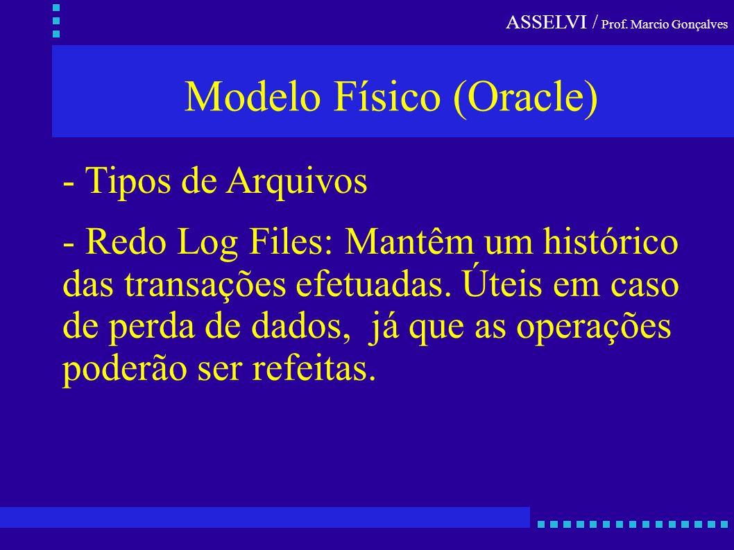 ASSELVI / Prof. Marcio Gonçalves Modelo Físico (Oracle) - Tipos de Arquivos - Redo Log Files: Mantêm um histórico das transações efetuadas. Úteis em c