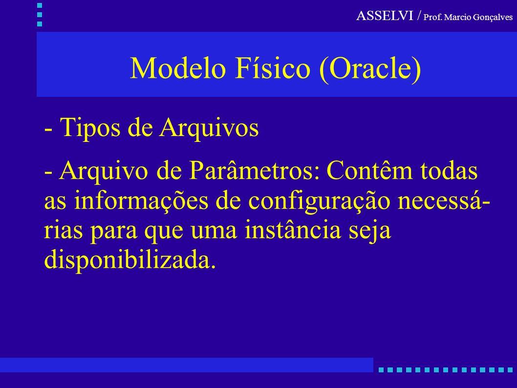 ASSELVI / Prof. Marcio Gonçalves Modelo Físico (Oracle) - Tipos de Arquivos - Arquivo de Parâmetros: Contêm todas as informações de configuração neces