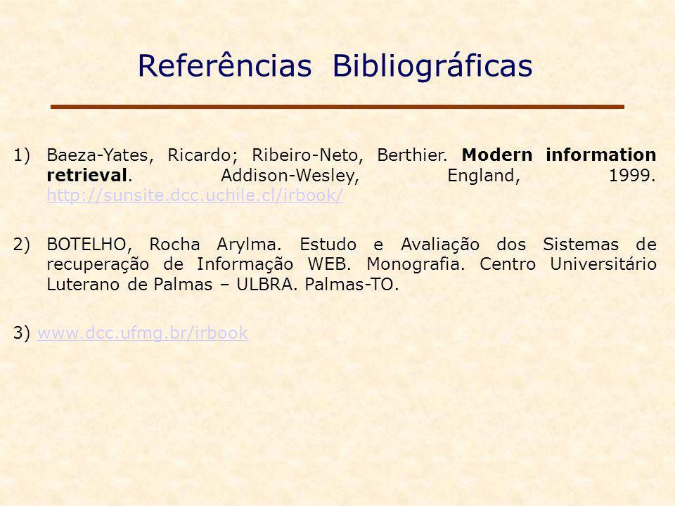 Referências Bibliográficas 1)Baeza-Yates, Ricardo; Ribeiro-Neto, Berthier.