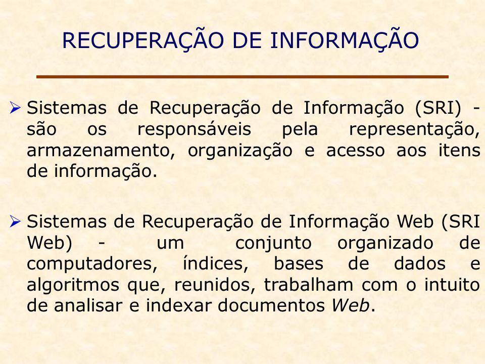 RECUPERAÇÃO DE INFORMAÇÃO Sistemas de Recuperação de Informação (SRI) - são os responsáveis pela representação, armazenamento, organização e acesso aos itens de informação.