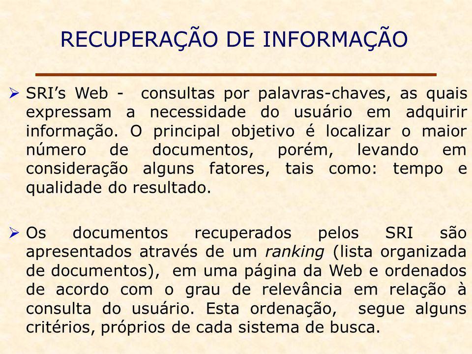 RECUPERAÇÃO DE INFORMAÇÃO SRIs Web - consultas por palavras-chaves, as quais expressam a necessidade do usuário em adquirir informação.
