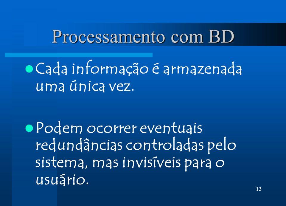 13 Processamento com BD Cada informação é armazenada uma única vez. Podem ocorrer eventuais redundâncias controladas pelo sistema, mas invisíveis para