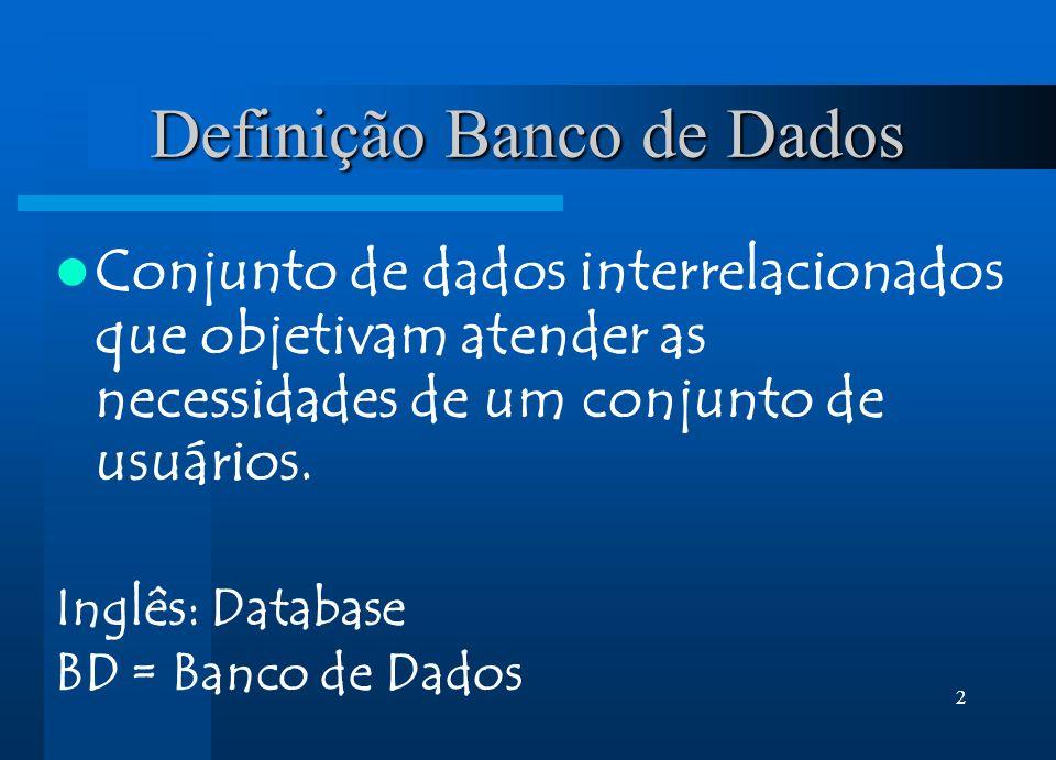 2 Conjunto de dados interrelacionados que objetivam atender as necessidades de um conjunto de usuários. Inglês: Database BD = Banco de Dados Definição