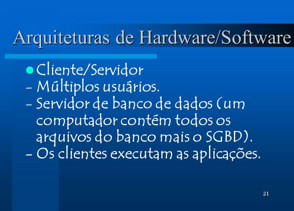 21 Arquiteturas de Hardware/Software Cliente/Servidor -Múltiplos usuários. -Servidor de banco de dados (um computador contém todos os arquivos do banc