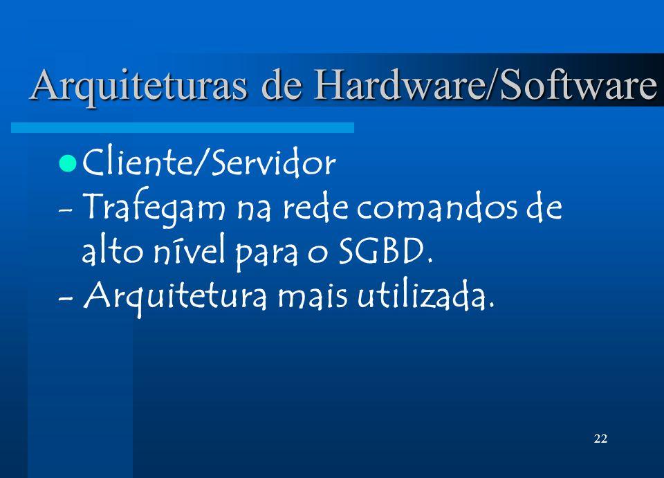 22 Arquiteturas de Hardware/Software Cliente/Servidor -Trafegam na rede comandos de alto nível para o SGBD. - Arquitetura mais utilizada.