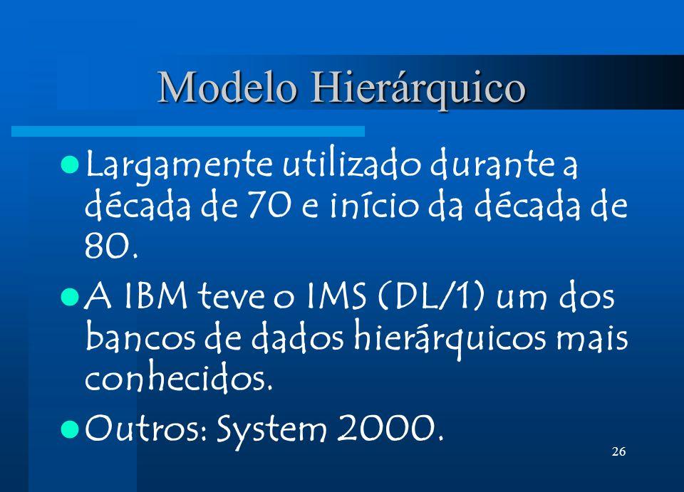 26 Modelo Hierárquico Largamente utilizado durante a década de 70 e início da década de 80. A IBM teve o IMS (DL/1) um dos bancos de dados hierárquico