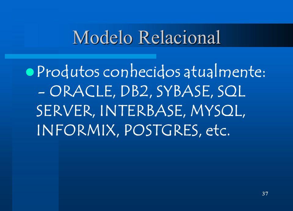 37 Modelo Relacional Produtos conhecidos atualmente: - ORACLE, DB2, SYBASE, SQL SERVER, INTERBASE, MYSQL, INFORMIX, POSTGRES, etc.