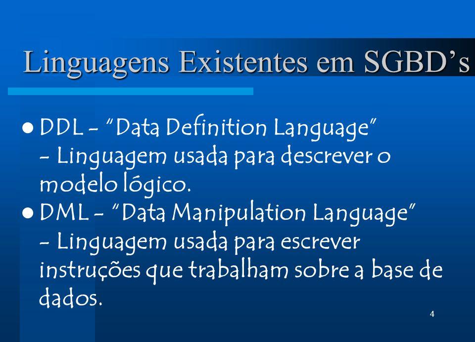 4 Linguagens Existentes em SGBDs DDL - Data Definition Language - Linguagem usada para descrever o modelo lógico. DML - Data Manipulation Language - L