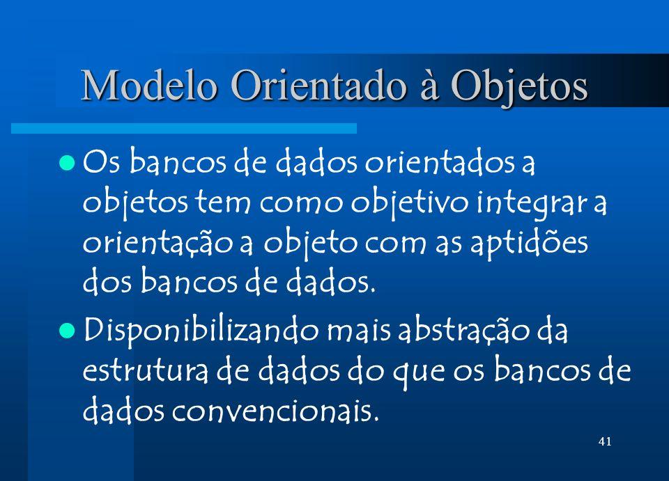 41 Modelo Orientado à Objetos Os bancos de dados orientados a objetos tem como objetivo integrar a orientação a objeto com as aptidões dos bancos de dados.