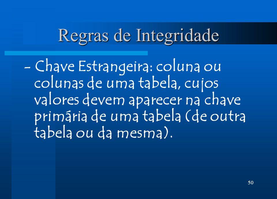50 Regras de Integridade - Chave Estrangeira: coluna ou colunas de uma tabela, cujos valores devem aparecer na chave primária de uma tabela (de outra tabela ou da mesma).