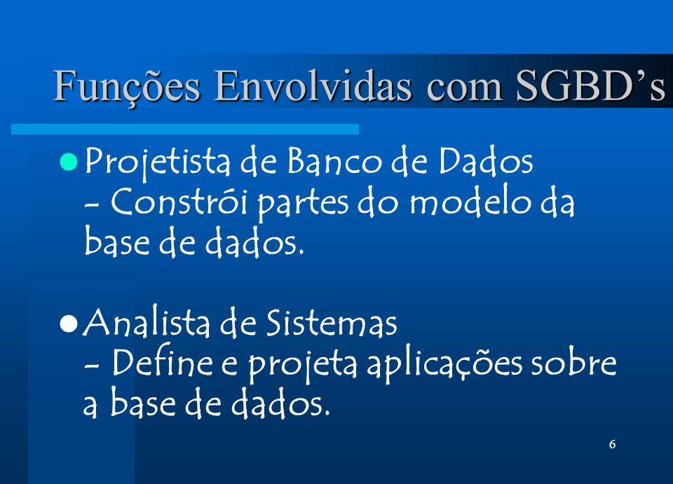 6 Funções Envolvidas com SGBDs Projetista de Banco de Dados - Constrói partes do modelo da base de dados. Analista de Sistemas - Define e projeta apli