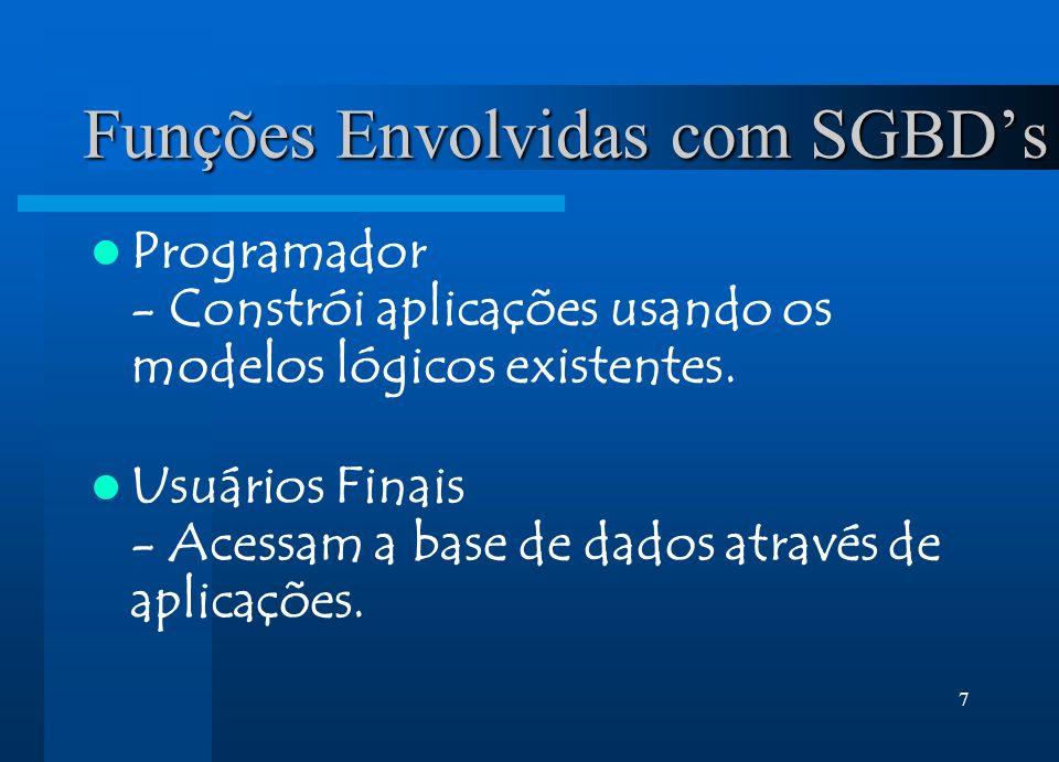 7 Funções Envolvidas com SGBDs Programador - Constrói aplicações usando os modelos lógicos existentes. Usuários Finais - Acessam a base de dados atrav