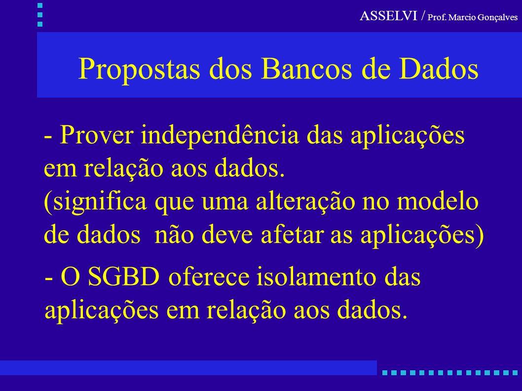 ASSELVI / Prof. Marcio Gonçalves - Prover independência das aplicações em relação aos dados. (significa que uma alteração no modelo de dados não deve