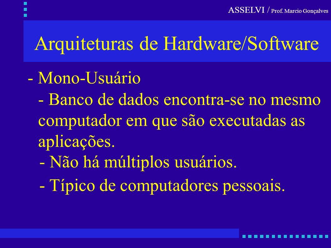 ASSELVI / Prof. Marcio Gonçalves Arquiteturas de Hardware/Software - Mono-Usuário - Banco de dados encontra-se no mesmo computador em que são executad