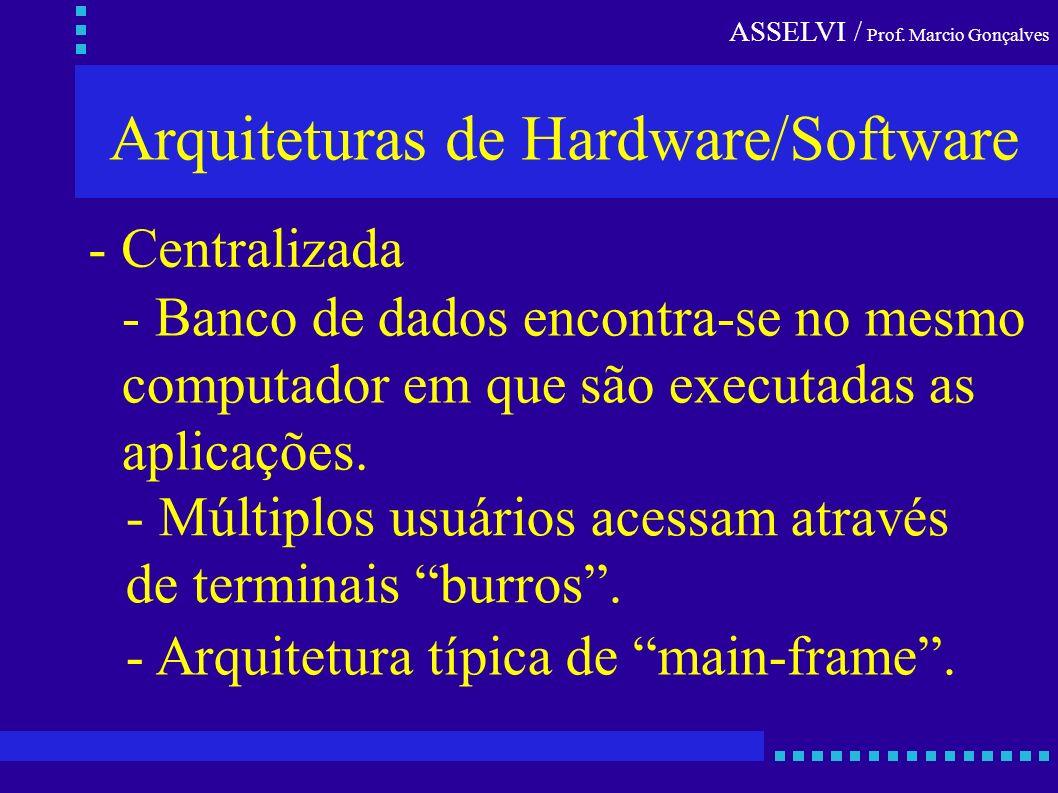ASSELVI / Prof. Marcio Gonçalves Arquiteturas de Hardware/Software - Centralizada - Banco de dados encontra-se no mesmo computador em que são executad