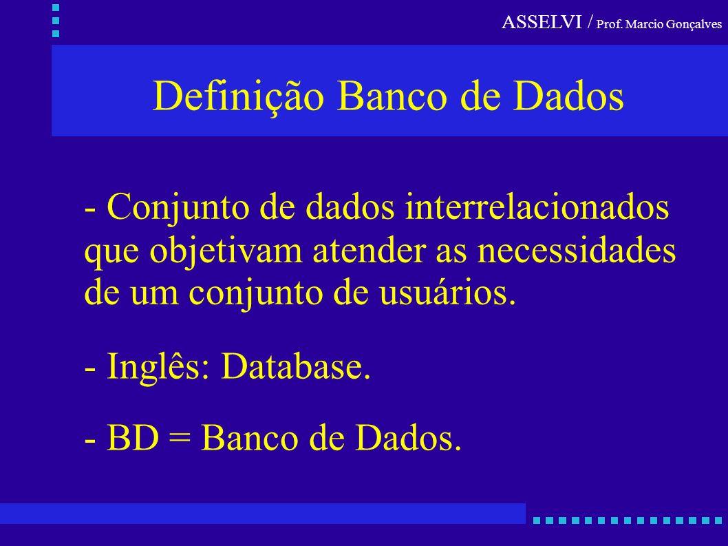 ASSELVI / Prof. Marcio Gonçalves Definição Banco de Dados - Conjunto de dados interrelacionados que objetivam atender as necessidades de um conjunto d