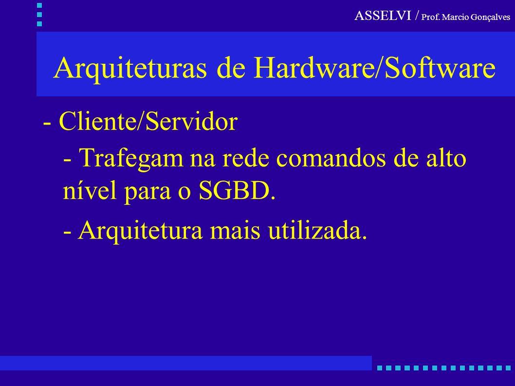 Arquiteturas de Hardware/Software - Cliente/Servidor - Trafegam na rede comandos de alto nível para o SGBD. - Arquitetura mais utilizada.