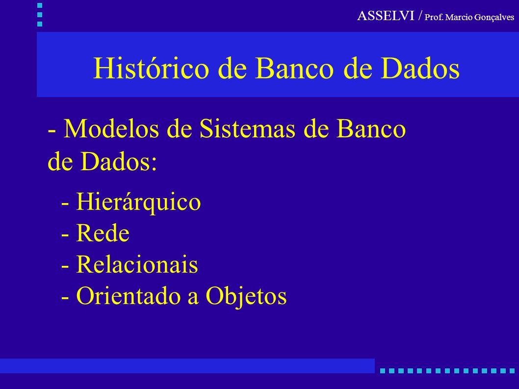 ASSELVI / Prof. Marcio Gonçalves Histórico de Banco de Dados - Hierárquico - Rede - Relacionais - Orientado a Objetos - Modelos de Sistemas de Banco d