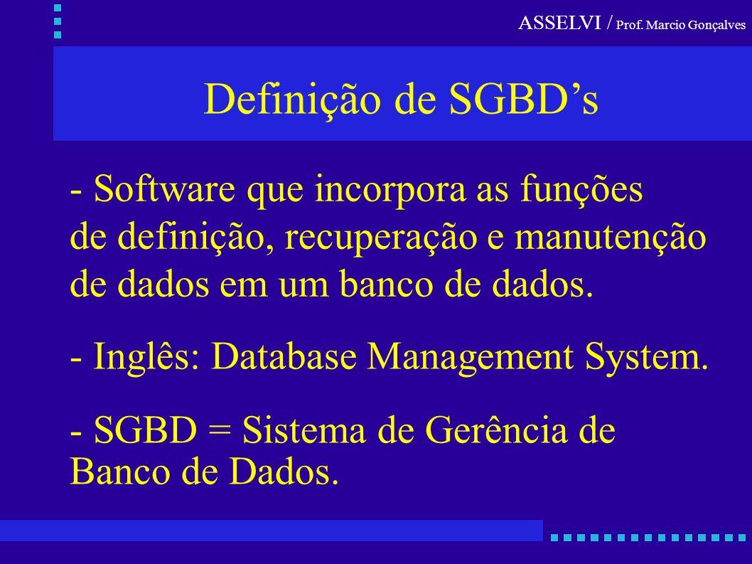 ASSELVI / Prof. Marcio Gonçalves Definição de SGBDs - Inglês: Database Management System. - SGBD = Sistema de Gerência de Banco de Dados. - Software q