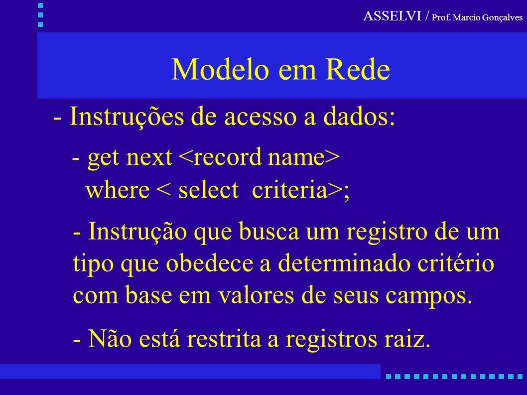 ASSELVI / Prof. Marcio Gonçalves Modelo em Rede - Instruções de acesso a dados: - get next where ; - Instrução que busca um registro de um tipo que ob