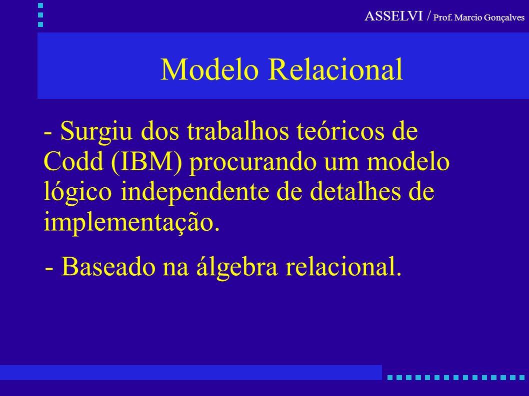 ASSELVI / Prof. Marcio Gonçalves Modelo Relacional - Surgiu dos trabalhos teóricos de Codd (IBM) procurando um modelo lógico independente de detalhes