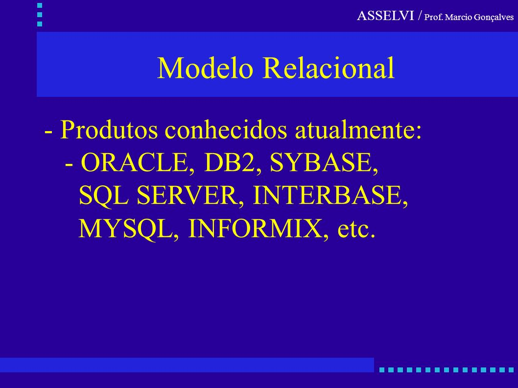 ASSELVI / Prof. Marcio Gonçalves Modelo Relacional - Produtos conhecidos atualmente: - ORACLE, DB2, SYBASE, SQL SERVER, INTERBASE, MYSQL, INFORMIX, et