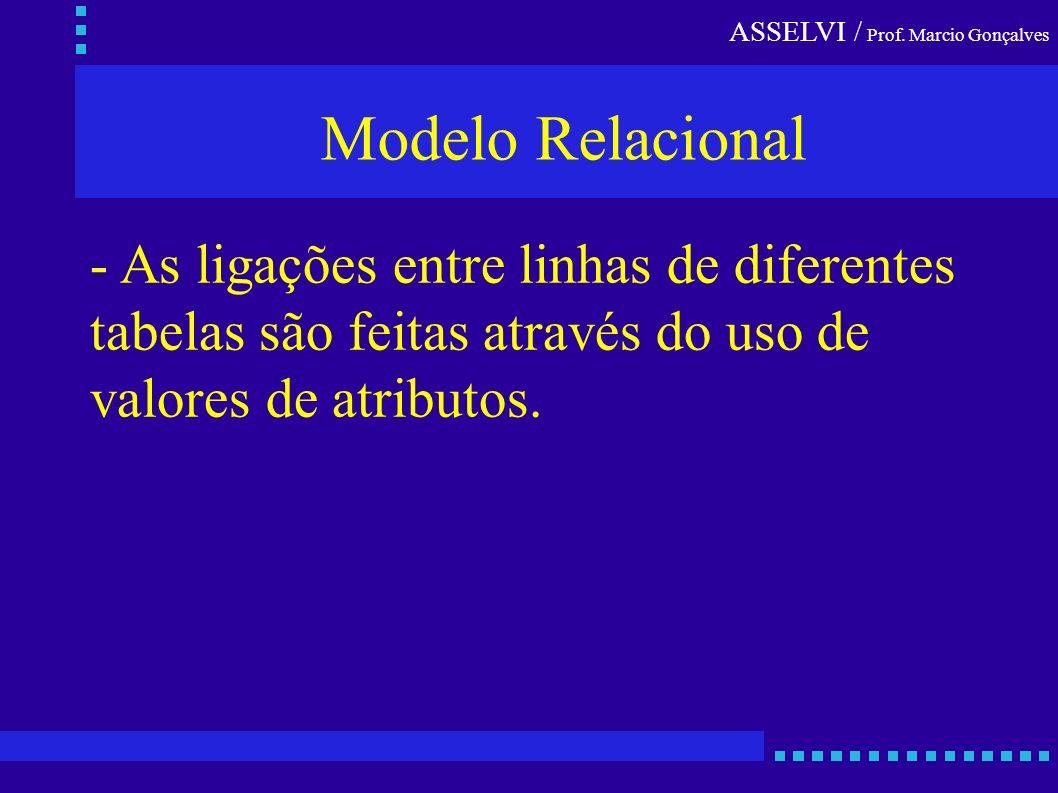 ASSELVI / Prof. Marcio Gonçalves Modelo Relacional - As ligações entre linhas de diferentes tabelas são feitas através do uso de valores de atributos.