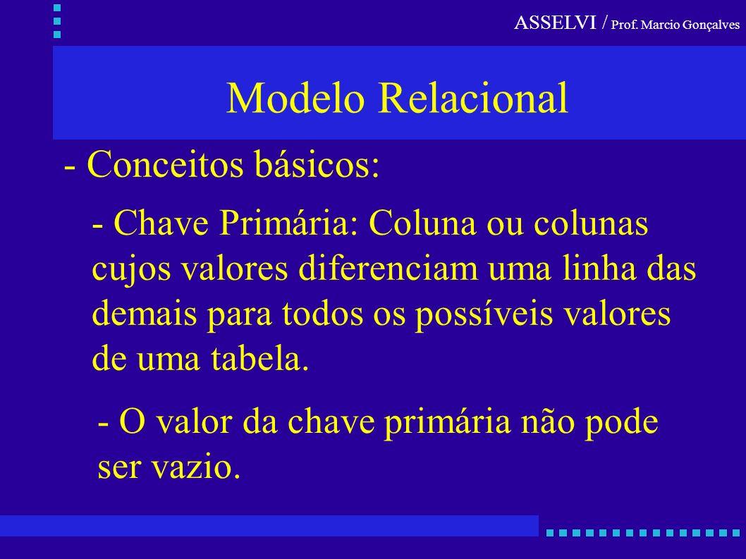 ASSELVI / Prof. Marcio Gonçalves Modelo Relacional - Conceitos básicos: - Chave Primária: Coluna ou colunas cujos valores diferenciam uma linha das de