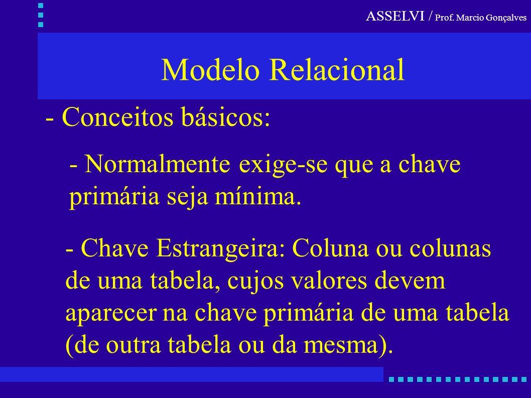 ASSELVI / Prof. Marcio Gonçalves Modelo Relacional - Conceitos básicos: - Chave Estrangeira: Coluna ou colunas de uma tabela, cujos valores devem apar