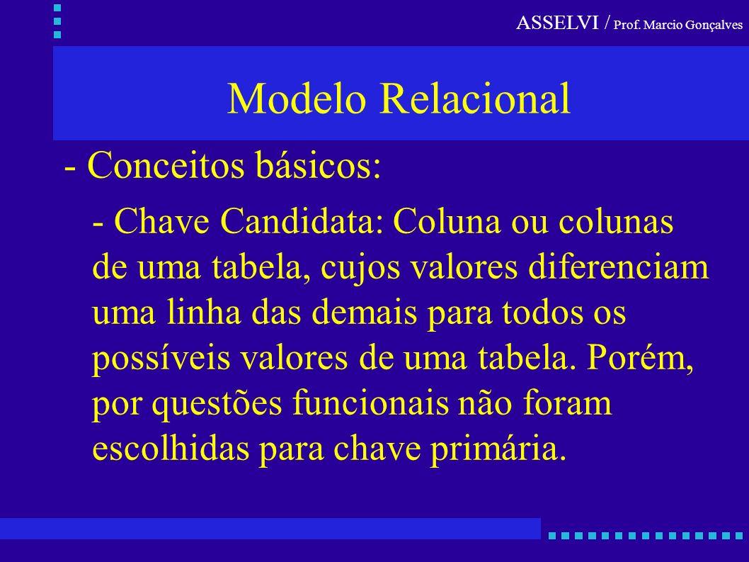 ASSELVI / Prof. Marcio Gonçalves Modelo Relacional - Conceitos básicos: - Chave Candidata: Coluna ou colunas de uma tabela, cujos valores diferenciam