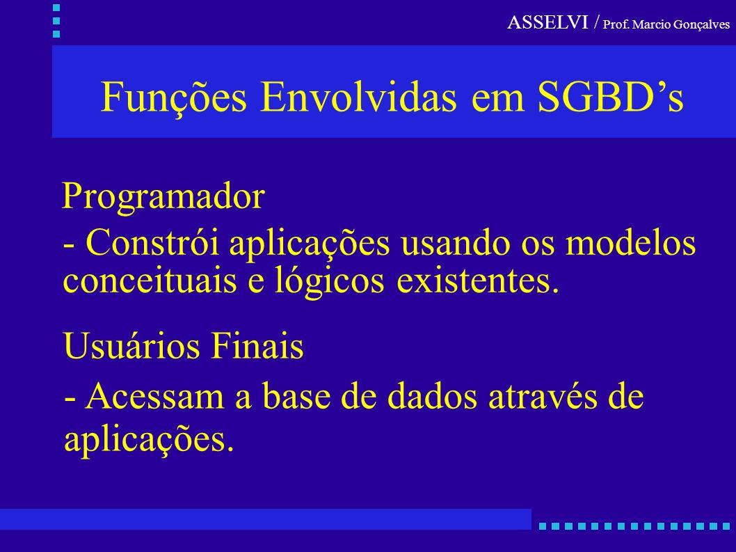 ASSELVI / Prof. Marcio Gonçalves Funções Envolvidas em SGBDs Programador - Constrói aplicações usando os modelos conceituais e lógicos existentes. Usu