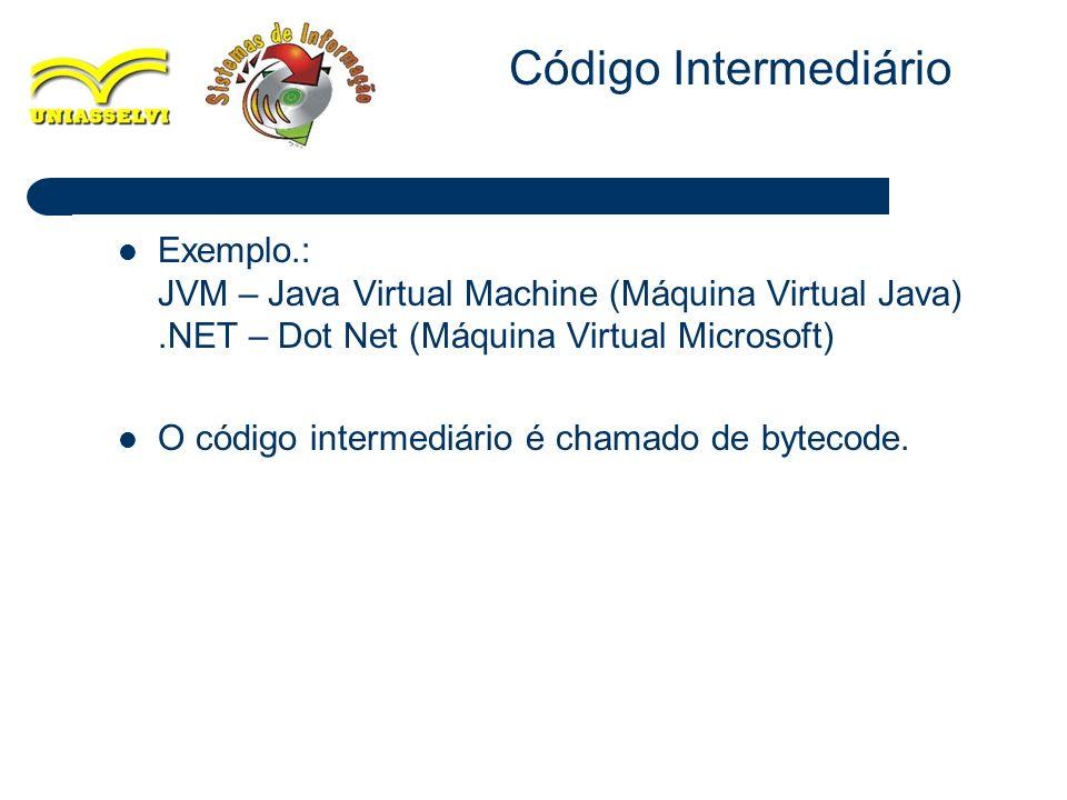 10 Exemplo.: JVM – Java Virtual Machine (Máquina Virtual Java).NET – Dot Net (Máquina Virtual Microsoft) O código intermediário é chamado de bytecode.