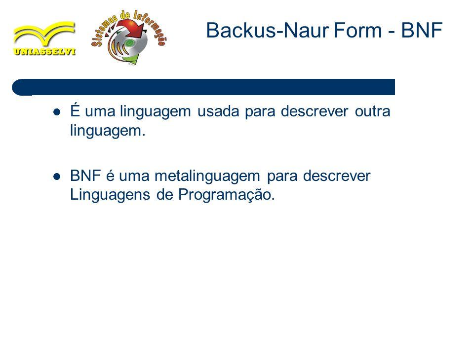 11 É uma linguagem usada para descrever outra linguagem. BNF é uma metalinguagem para descrever Linguagens de Programação. Backus-Naur Form - BNF