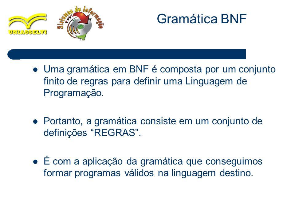 13 Uma gramática em BNF é composta por um conjunto finito de regras para definir uma Linguagem de Programação. Portanto, a gramática consiste em um co
