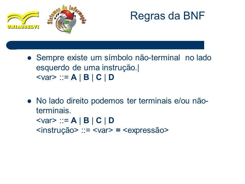 17 Sempre existe um símbolo não-terminal no lado esquerdo de uma instrução.| ::= A | B | C | D No lado direito podemos ter terminais e/ou não- termina