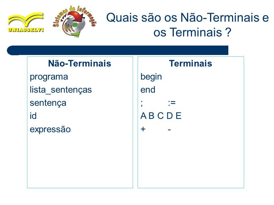 19 Quais são os Não-Terminais e os Terminais ? Não-Terminais programa lista_sentenças sentença id expressão Terminais begin end ;:= A B C D E +-