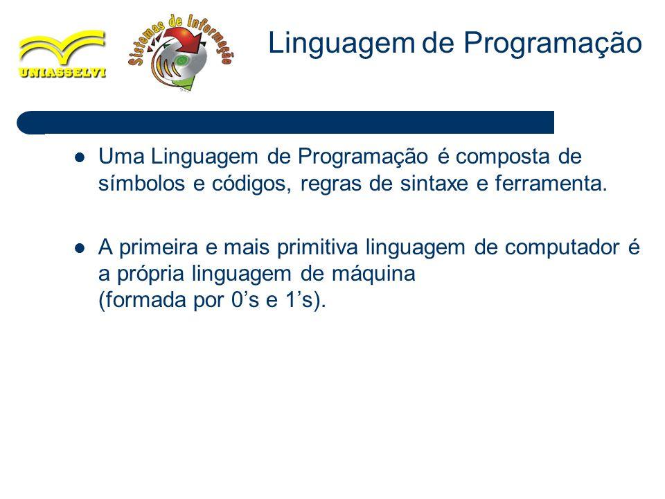 2 Uma Linguagem de Programação é composta de símbolos e códigos, regras de sintaxe e ferramenta. A primeira e mais primitiva linguagem de computador é