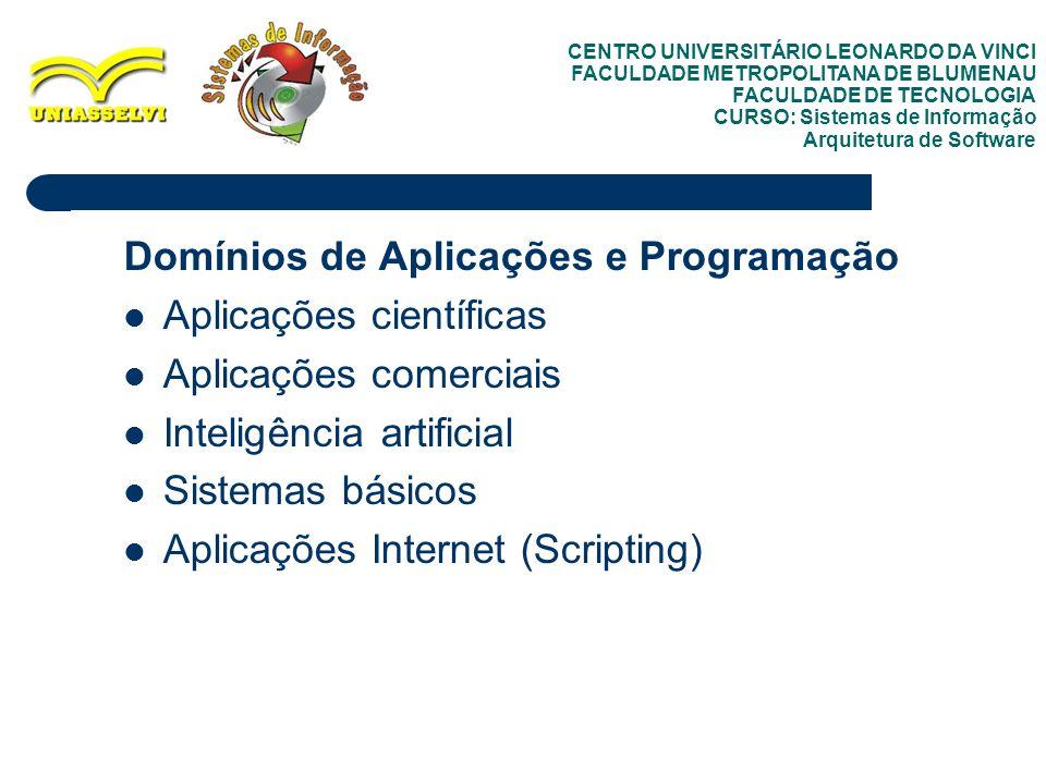 9 Domínios de Aplicações e Programação Aplicações científicas Aplicações comerciais Inteligência artificial Sistemas básicos Aplicações Internet (Scri