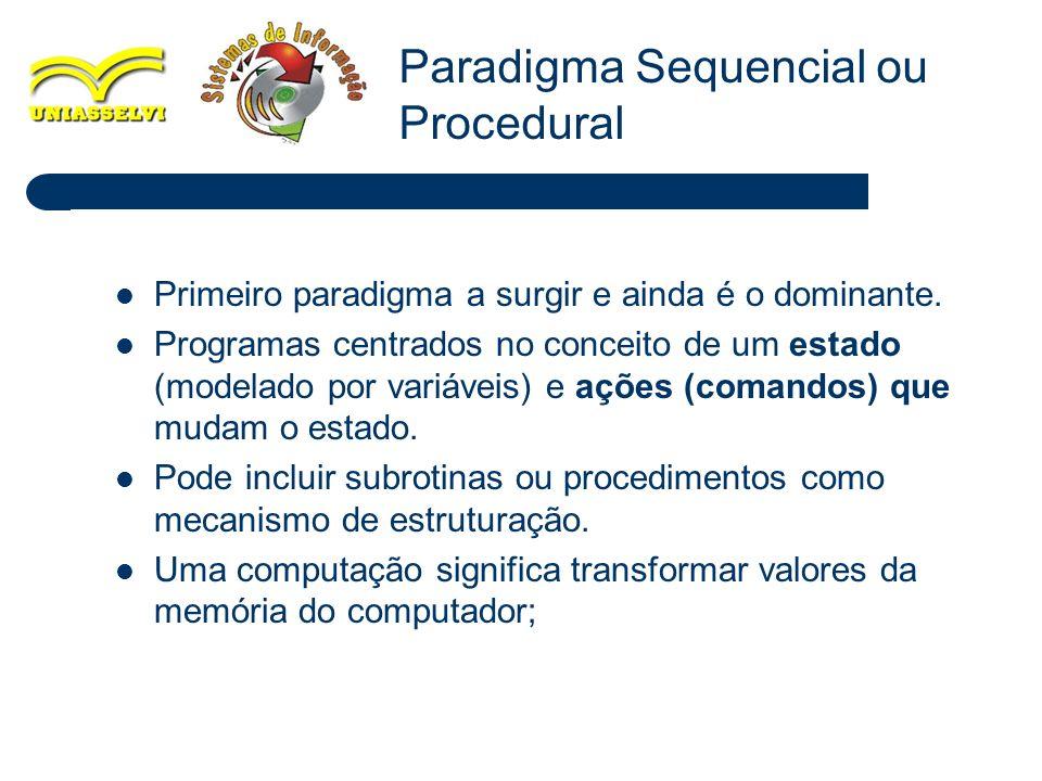 11 Primeiro paradigma a surgir e ainda é o dominante. Programas centrados no conceito de um estado (modelado por variáveis) e ações (comandos) que mud