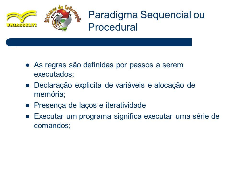 12 As regras são definidas por passos a serem executados; Declaração explicita de variáveis e alocação de memória; Presença de laços e iteratividade E