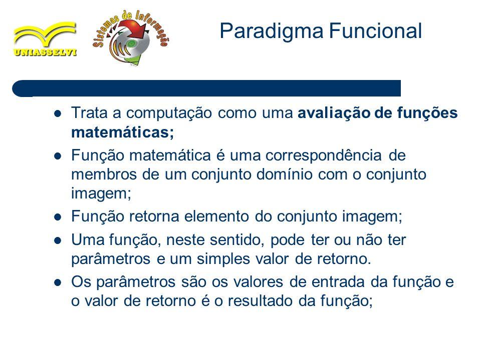 16 Trata a computação como uma avaliação de funções matemáticas; Função matemática é uma correspondência de membros de um conjunto domínio com o conju