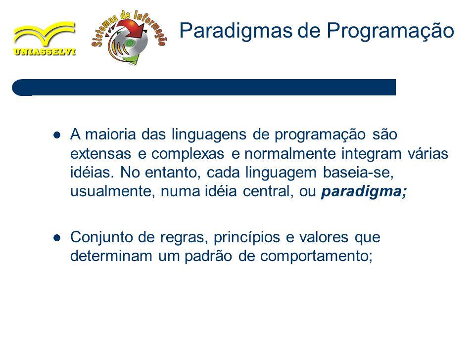 2 A maioria das linguagens de programação são extensas e complexas e normalmente integram várias idéias. No entanto, cada linguagem baseia-se, usualme