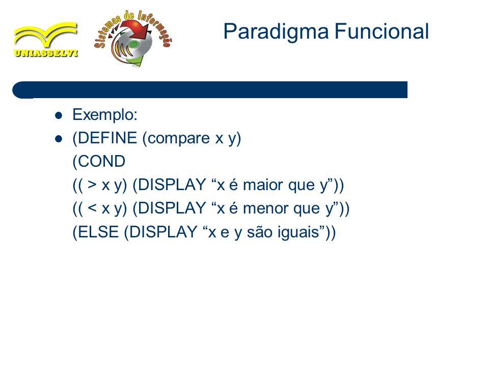 21 Exemplo: (DEFINE (compare x y) (COND (( > x y) (DISPLAY x é maior que y)) (( < x y) (DISPLAY x é menor que y)) (ELSE (DISPLAY x e y são iguais)) Pa