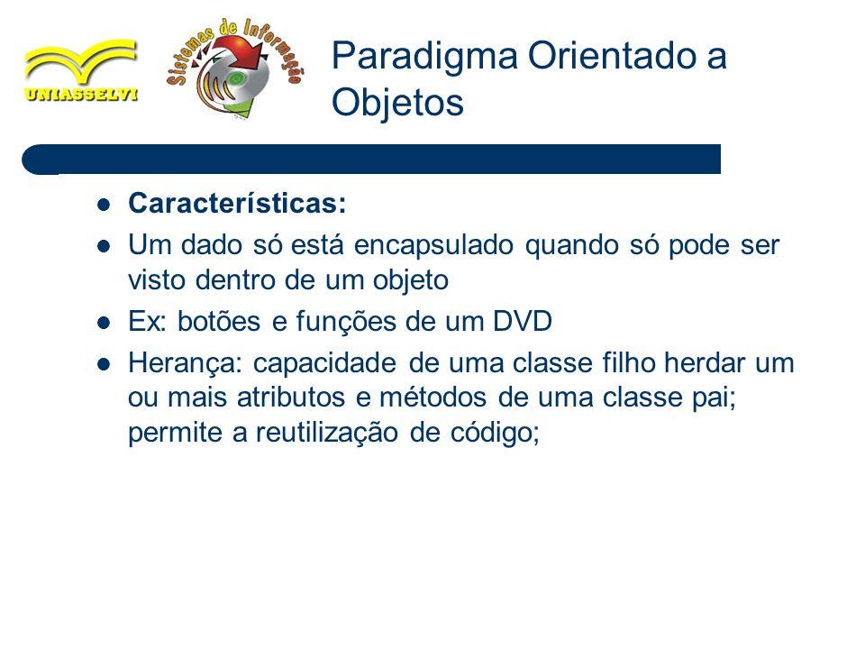 26 Características: Um dado só está encapsulado quando só pode ser visto dentro de um objeto Ex: botões e funções de um DVD Herança: capacidade de uma