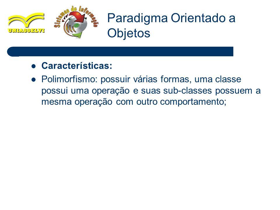 28 Características: Polimorfismo: possuir várias formas, uma classe possui uma operação e suas sub-classes possuem a mesma operação com outro comporta