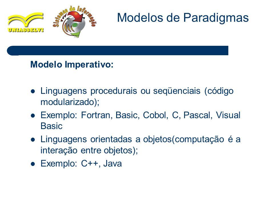 9 Modelo Imperativo: Linguagens procedurais ou seqüenciais (código modularizado); Exemplo: Fortran, Basic, Cobol, C, Pascal, Visual Basic Linguagens o